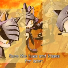 Blaze's Arthurian counterpart, Sir Percival, blushing after Sonic saves her life
