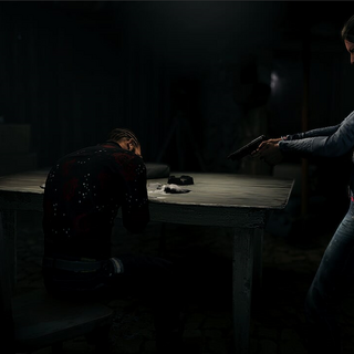 Bowman forcing Antonio to attempt an overdose of cocaine, while Nomad watches in silence.