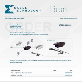 An order for a SKP S-5000 Tuned Propulsion System  4 units and Optronic Laser Navigation Module 1 unit by Skell Technology.
