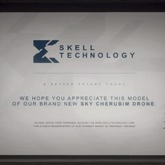 Skell Tech's info of the Sky Cherubim Drone with Jace Skell's signature shown on the projector screen inside <a href=