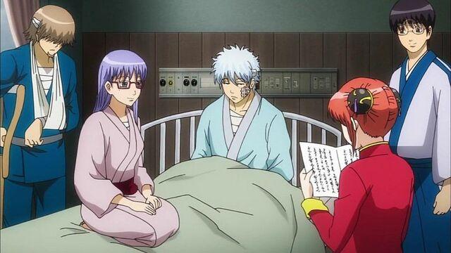 File:Zenzou, Sarutobi, Gintoki, Shinpachi and Kagura Episode 307.jpeg