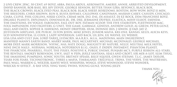 List of sampled artists from the album liner notes