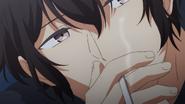 Ugetsu smoking while talking to Akihiko (17)