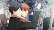 Mafuyu looking at Ritsuka on the subway