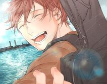 Mafuyu smiling towards the ocean