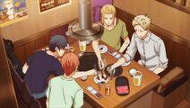 Ritsuka, Haruki, & Akihiko giving their meat to Mafuyu