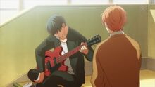 Ritsuka plays the guitar