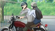Akihiko and Yayoi on the motorcycle
