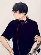 Ritsuka with guitar & headphones