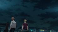 Mafuyu & Hiiragi outside during the night