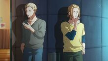 Akihiko and Haruki smoking outside