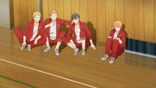 Ritsuka, Mafuyu, Shogo, and Ryuu hearing the players being switched out