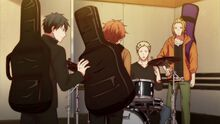 Ritsuka trying to keep Mafuyu's guitar from sliding