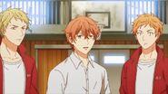 Mafuyu, Ryuu, and his friend looking at Ritsuka
