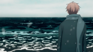 Mafuyu looking out at the ocean intro