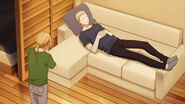 Akihiko sleeping on the couch