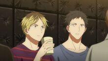 Hiiragi and Yagi sitting together