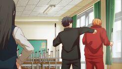 Ritsuka punching Ryuu in the back
