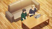 Ritsuka and Akihiko sit by the computer