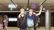 Haruki waving goodbye to Ritsuka and Mafuyu at the subway station