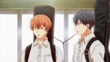 Ritsuka and Mafuyu sharing headphones