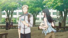 Akihiko seeing Yayoi running to him