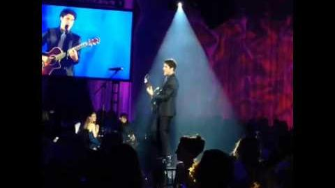 "Darren Criss performing ""Copacabana"" at the Celebrations of Dreams Gala"
