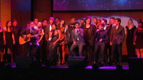 """The Glee Cast singing """"Smile"""" at Trevor Live"""