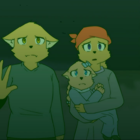 Amai and Kanashi's family inside of the <a href=