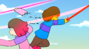 Frisk is cutting pink child arm