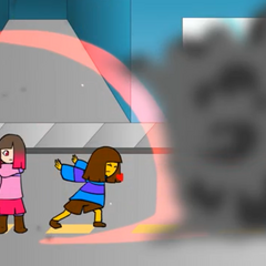 <b>Frisk</b> using their shield to protect <a href=
