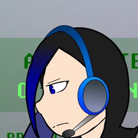 Wearing headphones.