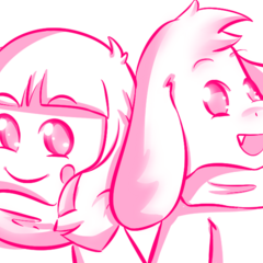 Asriel alongside Chara