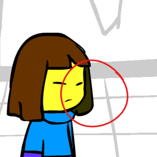 Frisk's hair has 2 different colors.