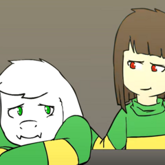 Asriel being comforted by <a href=