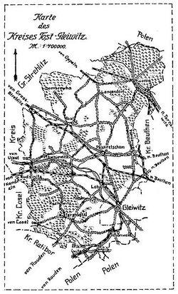 Kreis Tost-Gleiwitz Karte