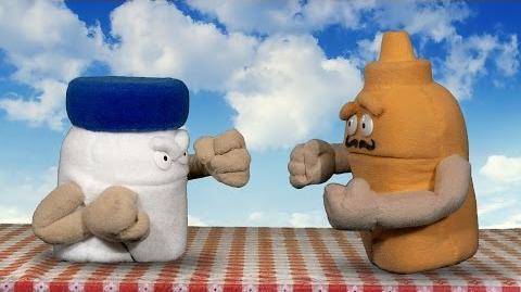Condiment Challenge-Mustard Fighting Mayo. Mustard