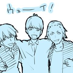 Ilustración de Takeda, Fuutarou y Maeda.