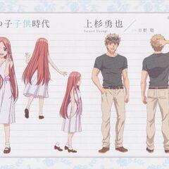 Diseño de la chica de la fotografía e Isanari Uesugi en el anime