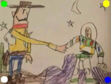 Toy Story 2 Woody & Buzz Handshake Drawing