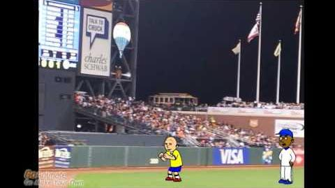 Caillou Runs On a Baseball Field and Gets Grounded