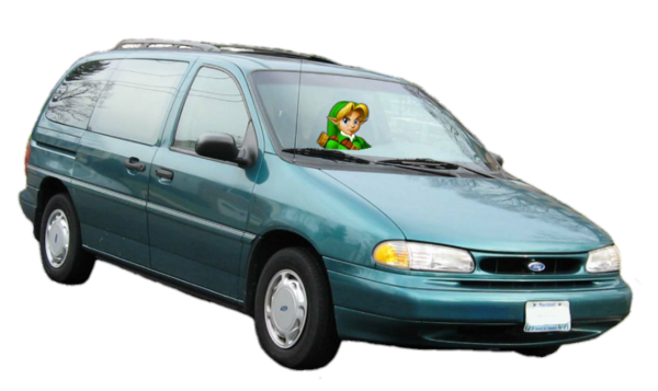 Young Link Driving His 1995 Ford Windstar Van