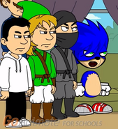 Sonic, Link, Jeff, Man punishing the Creepypasta counterparts