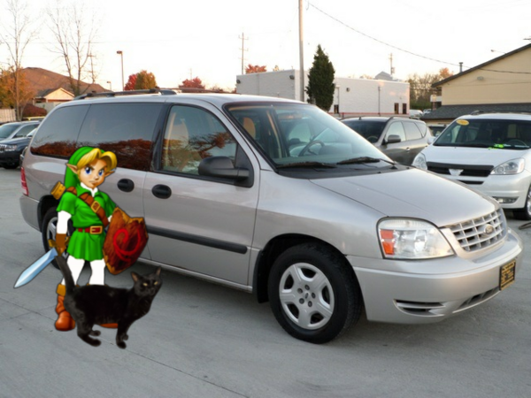 Young Link And James The Black Cat With Minivan