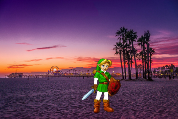 Young Link Leaving the Beach in Los Angeles