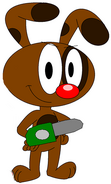 Rudolph with green chainsaw