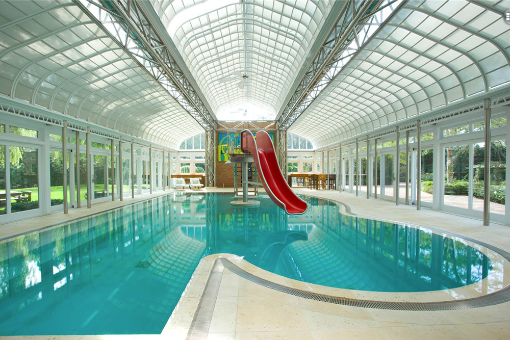 Indoor pool with slide  Image - Indoor Pool with Water Slide at Home in Blakely Pennsylvania ...