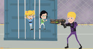 Buttercup protects Bubbles from Breach's plasma gun