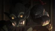 Goblin Slayer choking Goblin Champion