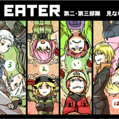 The original character designs used for God Eater, compared to their new look in God Eater Burst.